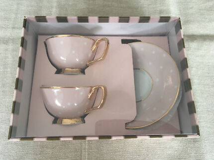 Christina Re Petite Tea Cup Set trimmed with 24carat gold
