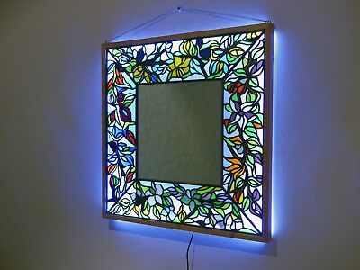 Handmade Original Design Stained glass mirror with white LED backlight