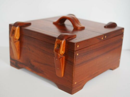 "Vtg HAWAIIAN KOA Wood Jewelry Box by ""CAP"" Mccully 10"" X 10""  2 Trays 1997"