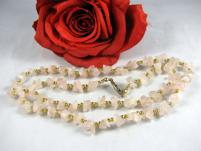 Gorgeous Rose Quartz & Gold tone Beaded Necklace CAT RESCUE