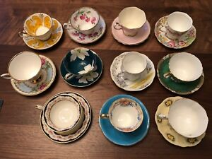 Set of 11 Vintage Bone China Teacups and Saucers