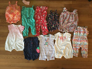 10 pairs and 6-12 month girl rompers
