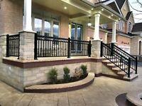 Aluminum railings glass/picket column gate handrail fence