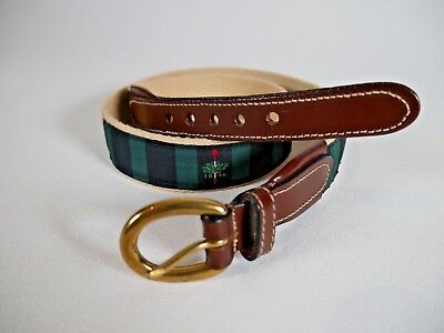 Merion Golf Club Thin Embroidered Logo Leather Canvas Black Watch Belt Size 32