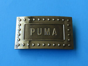 PUMA Black Chrome Belt Buckle - 3D Raised Letters Embossed Rectangle Fashion