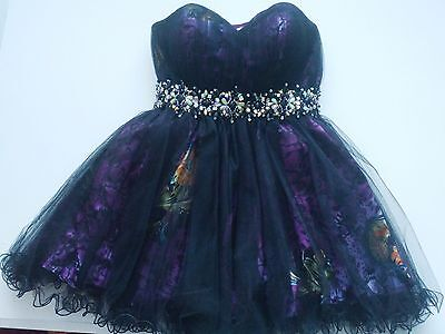 NWT Let's Fashion Homecoming Cocktail Prom Rhinestone Puff Corset Dress Size L
