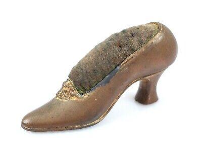 Vintage Red Ceramic Shoe Pin Cushion Old Pin Cushion in a Red Ceramic Boot Style Shoe.