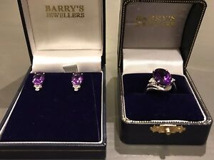 NEW White Gold, Amethyst & Diamond Ring! With matching earrings!