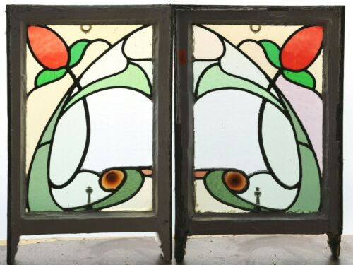 Pair of Antique Stained Glass Windows Six Color Stunning Design  (4420)