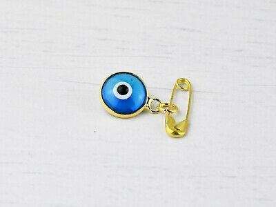 Gold Colour Lucky Blue Evil Eye Glass Protection Safety Pin Brooch For Baby