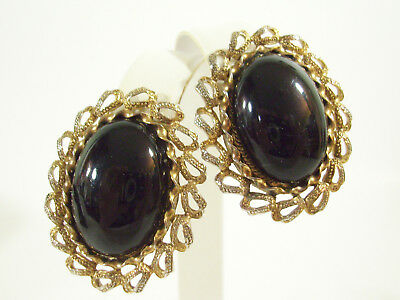 Paolo Gucci Jet Black Oval Cabs Gold Plate Ornate Frame Clip on Earrings Vintage