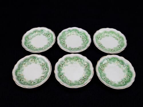Antique Butter Pats,6 Porcelain Transfer Ware Butter Pats Gold Trim, Highlights