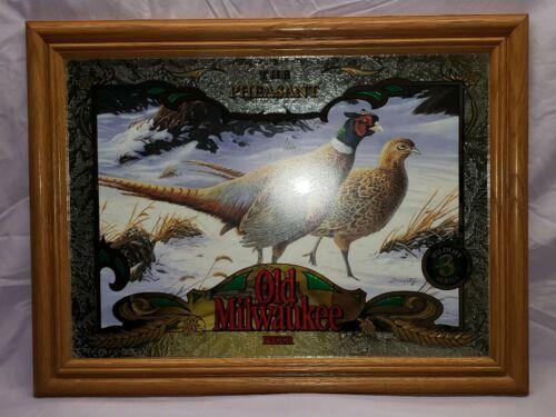 """Old Milwaukee Beer Mirror Wildlife series #3 Pheasants VERY NICE 16"""" x 21""""."""