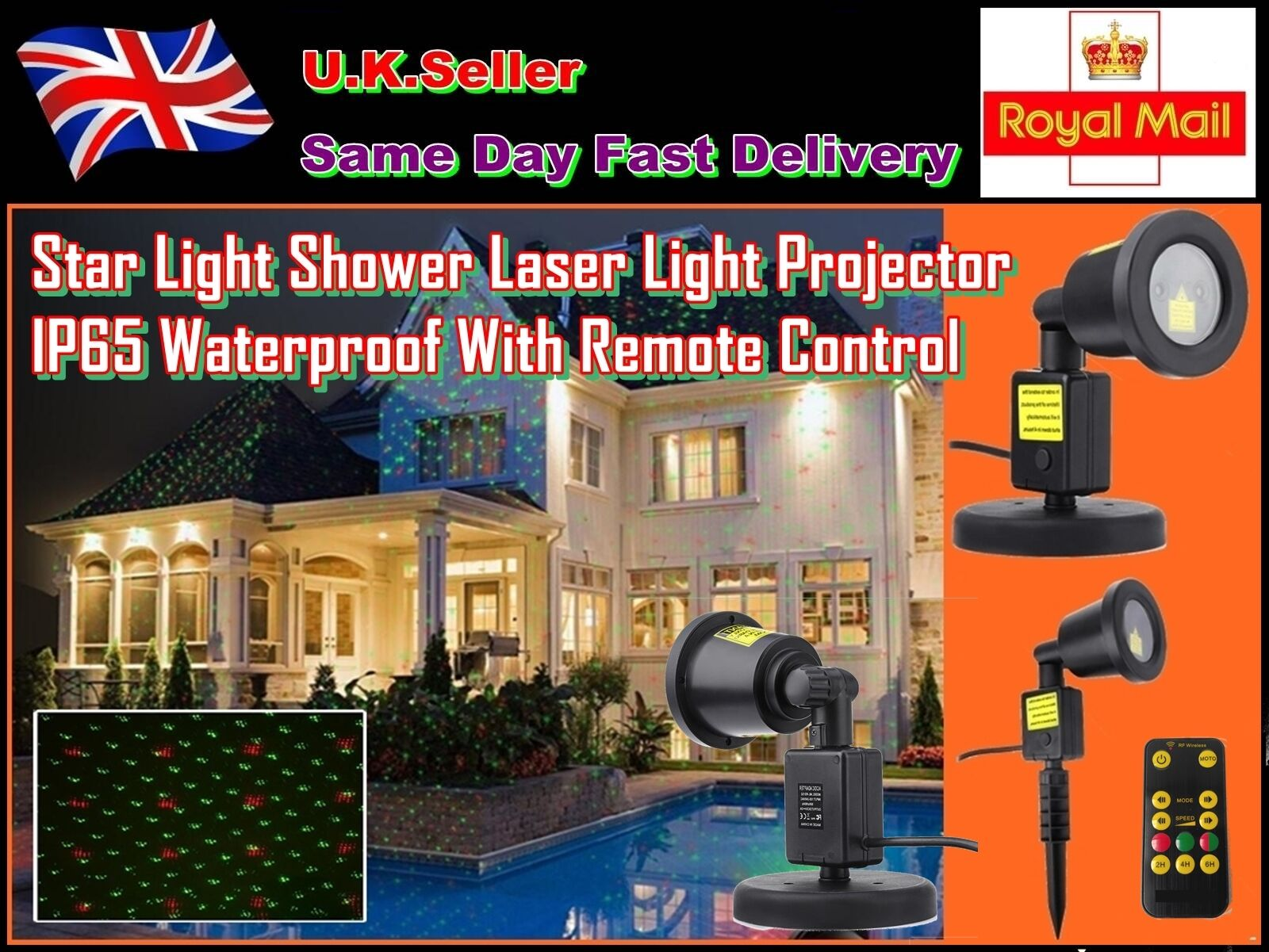 Star Light Christmas Laser Light Show Projector IP65 with re