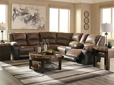 NEW Living Room Furniture Brown Fabric Reclining 6 piece Sofa Sectional Set IF0B