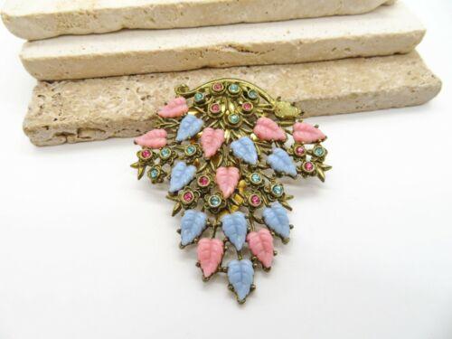 Antique Vintage Large Pink Blue Glass Leaf Rhinestone Gold Fur Dress Clip QQ2