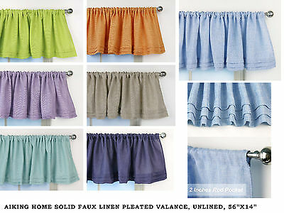 Aiking Home Faux Linen Semi-Sheer Pleated Valance 56 by 14 (Home Linen)