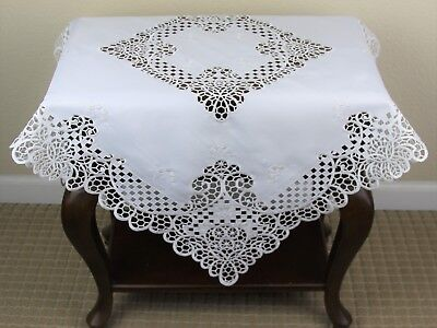 """White Embroidered tablecloth end table topper fabric embroidery 36x36"""" Square"""