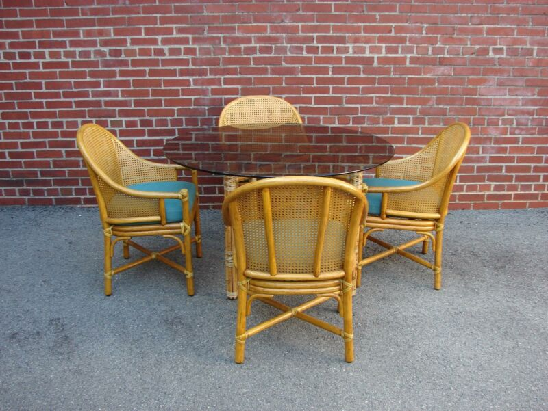 MID CENTURY MODERN MCGUIRE RATTAN BAMBOO TABLE AND FOUR CHAIRS