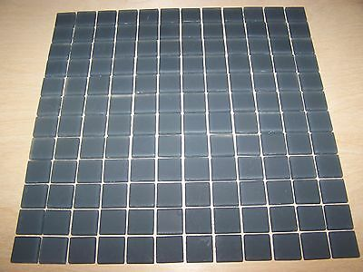 """1x1 Frosted Glass Tile Mosaic Kitchen Bathroom Wall: Grey - one sheet 12""""x12"""""""