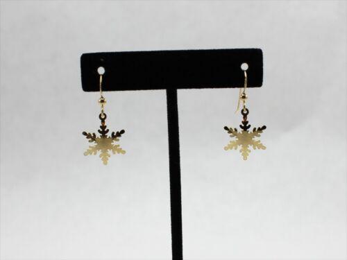Vintage 14/20 Gold Filled GF Snowflake Shaped Drop Earrings
