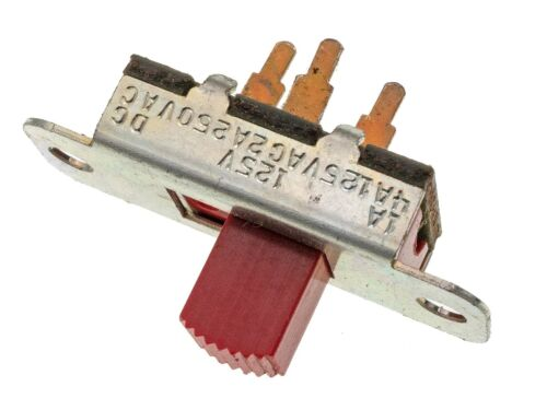 5X - Stackpole SPDT 3 terminal Red Slide Switch 4A/125VAC 1A/125VDC PCB Mount