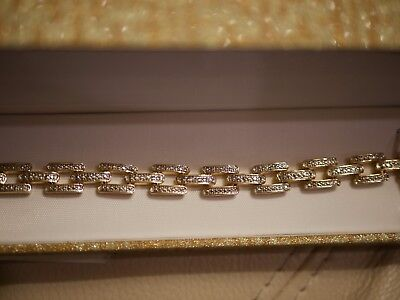 NEW WOMEN'S TWO TONE RECTANGULAR LINK BRACELET YELLOW BRASS DIAMOND ACCENT 7.5