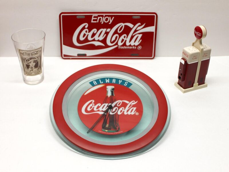 Coca Cola Lot Clock Salt & Pepper License Plate Glass