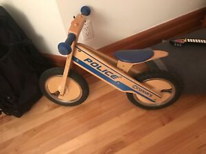 Toddler wooden police strider bike with bell