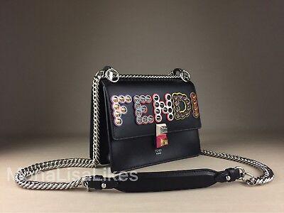 NEW FENDI 2350$ Kan I Black Embellished Studded Logo Leather Bag Handbag Purse