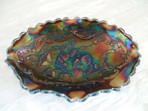 Fenton Carnival Glass Scalloped Oval Dish Blue/Purple Iridescent Amethyst