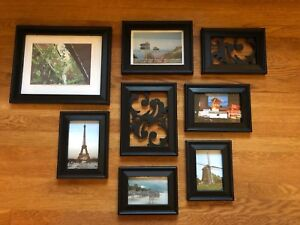 Various black photo frames (wall mount or table top)