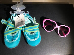 Toddler size 6 water shoes and heart shape sunglasses