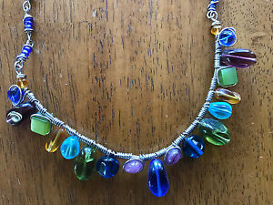 Wire & Glass Bead Necklace - locally crafted