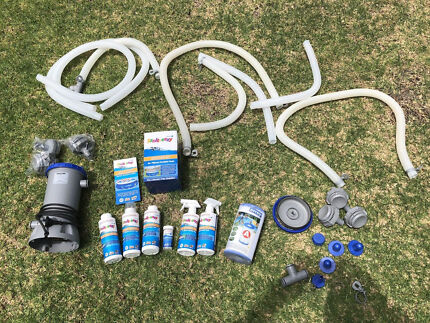 Inflatable pool pump and accessories