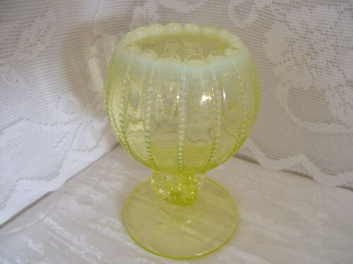 Northwood Vaseline Opalescent Open Beaded Panels Footed Rose Bowl/Vase