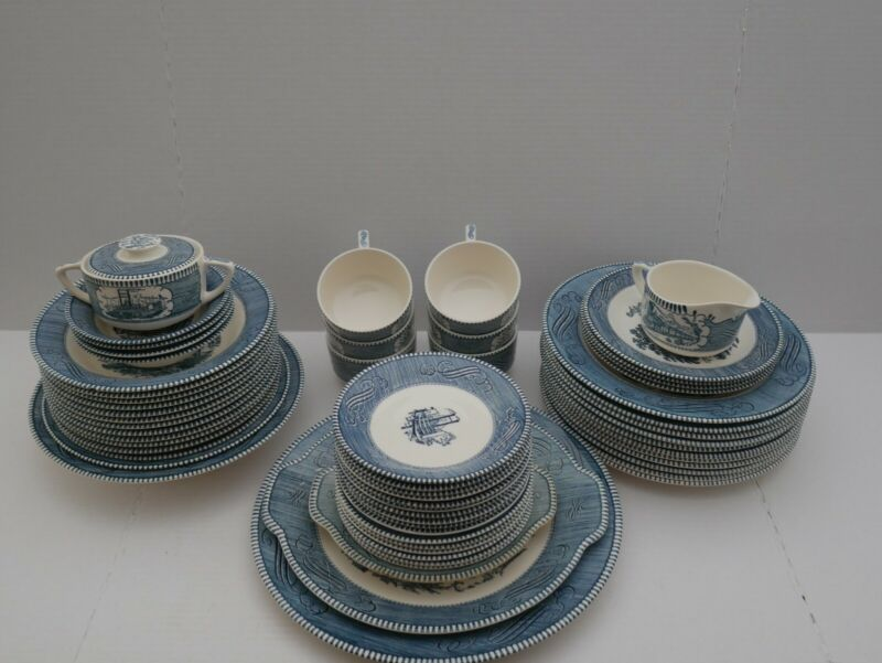 MAKE OFFER - Currier and Ives by Royal China Dinnerware Set w/ Bowls! (59 pcs)
