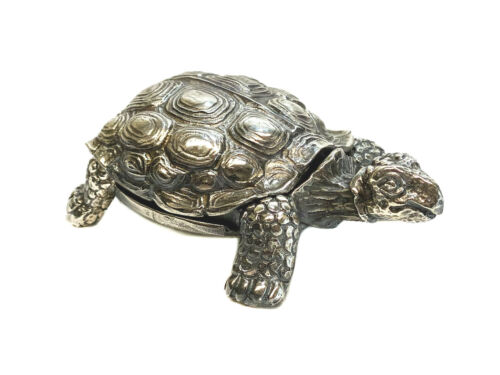 Agma Sterling Silver Tortoise Turtle Figurine / Ring Box