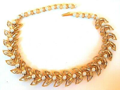 1950s Jewelry Styles and History VINTAGE GOLDTONE PEARL & RHINESTONE NECKLACE--1950s--EXCELLENT $19.99 AT vintagedancer.com