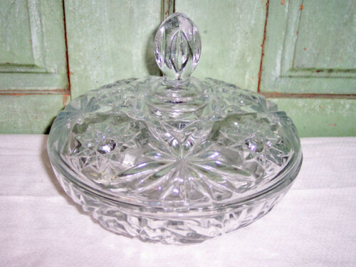 """Anchor Hocking Star of David EAPC Prescut Covered Candy Dish 7.25"""""""