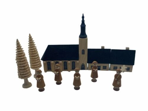 Vintage 10 pc Wooden Village Made in Germany Church Houses Carolers Christmas