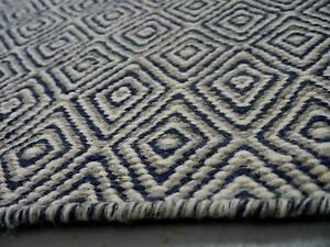 New Bayliss Herman Diamond Navy Flatweave Geometric Wool Rugs Melbourne CBD Melbourne City Preview
