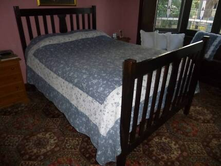vintage double bed with king coil mattress