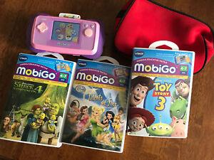 Jeu MobiGo de vtech + 4 cassettes + étui