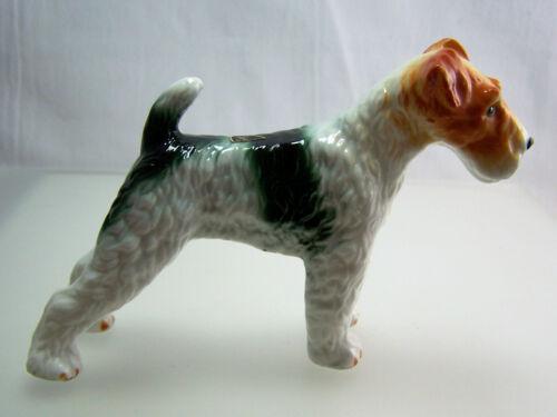 Vintage Wire Hair Fox Terrier Dog Standing Bone China Figurine  1960