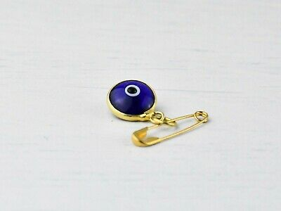 Gold Colour Lucky Turkish Evil Eye Glass Protection Safety Pin Brooch For Baby