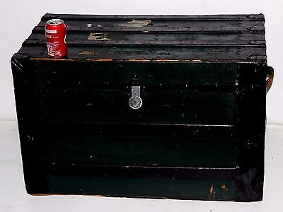 Antique Metal Bound Steamer Trunk Chest Coffee Table - FREE Delivery [PL3670]