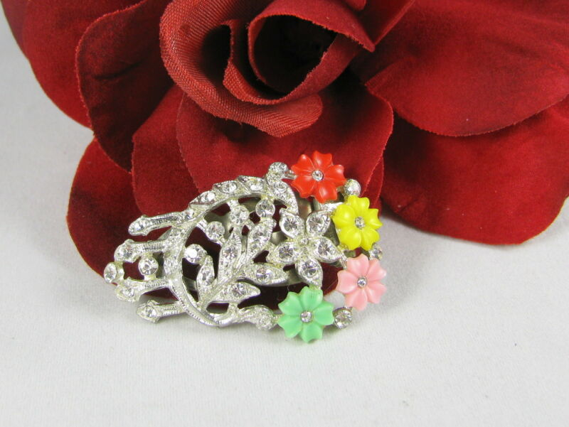Vintage Colorful Rhinestone Flower Dress Clip CAT RESCUE