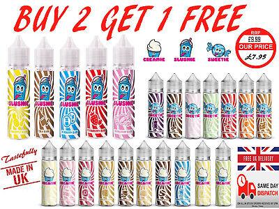 electronic cigarette e-liquid SLUSHIE e cig eliquid 50ml 0mg Blue SLUSH vape UK