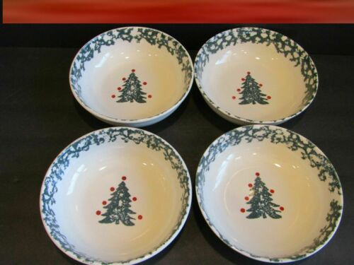 Folk Craft Winter Wonderland Christmas Tree Soup Cereal Bowls~Tienshan (4)